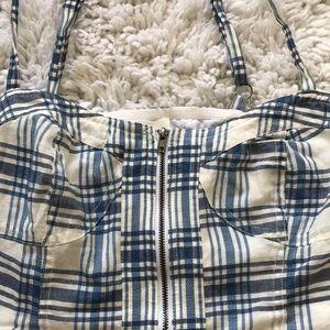 Alice & UO flannel patterned crop tank